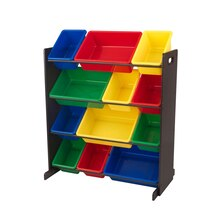KidKraft Sort It & Store It Unit, Espresso with Primary Bins